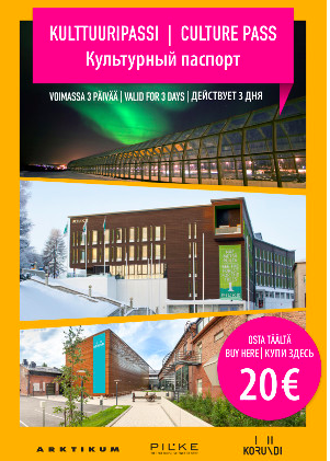 Imagen del Rovaniemi Culture Pass, donde se ven las 3 atracciones incluidas.